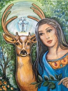 Stag painting, spiritual artwork